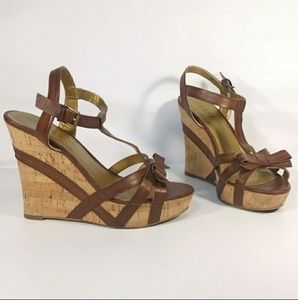 Guess T-Strap Wedge Heel Sandals Size 6 M Brown